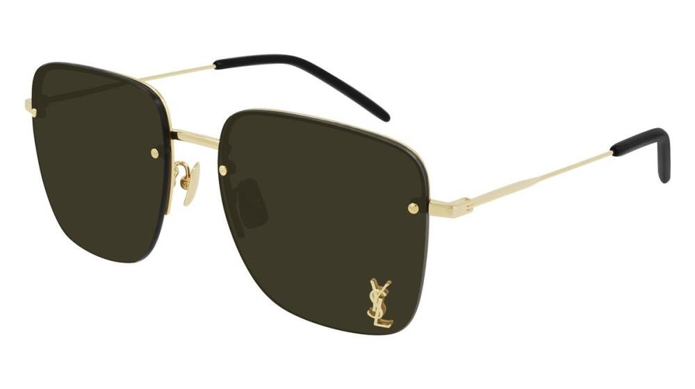 SAINT LAURENT SL 312 M 006 Solbrille Gull med Brun glass
